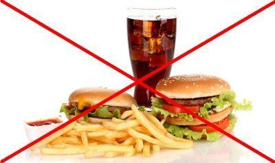 Отказ от жирной, острой и тяжелой пищи