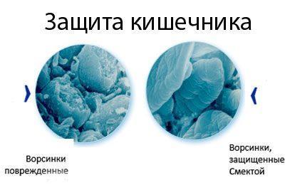 Действие смекты в кишечнике