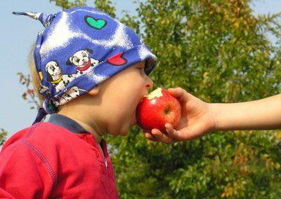 Ребенок есть немытое яблоко